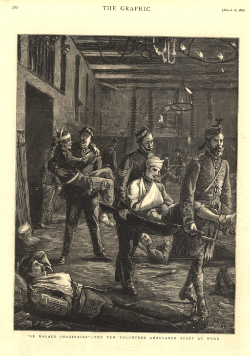 <p>Two men in military uniform carry a wounded soldier on a stretcher through a great hall in which other wounded soldiers are seen in various states.  Another man in military uniform carries a wounded soldier in his arms.</p>