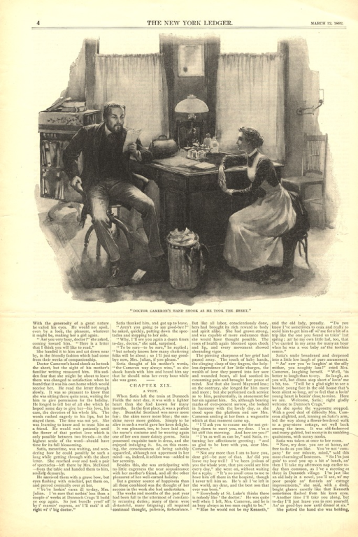 <p>The doctor sits at his desk rreading a letter.  A woman sits in a chair next to the desk and watches the doctor.</p>