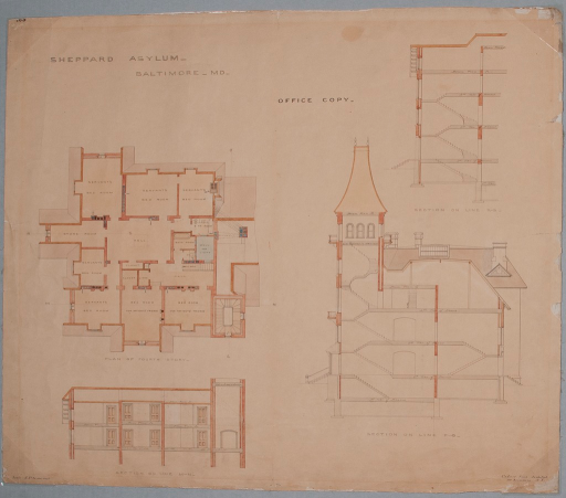 <p>Four architectural drawings, including a plan of the hospital's fourth floor and three cross-sectional views of floor plans.</p>