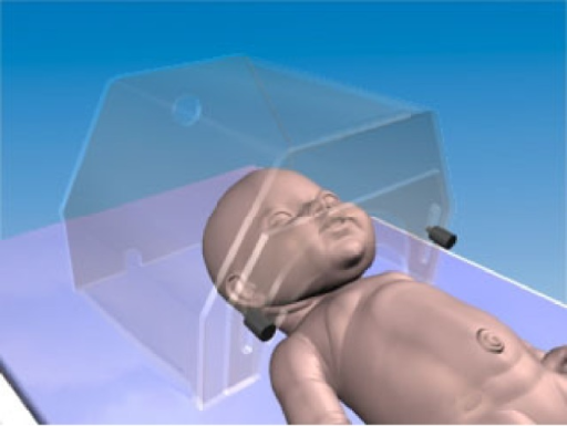 Geometrical model of a neonate nursed under an oxygen hood (reproduced from Ginalski et al. (2008) with permission from IOP Publishing).