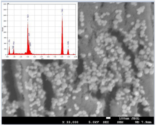 FESEM image of silver nanoparticles and inset shows EDX profile for the same.
