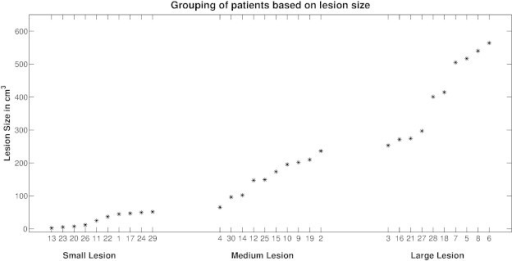 Histogram of lesion size across the three lesioned brain groups. The numbers on the abscissa correspond to the patient numbers listed in Table 1.
