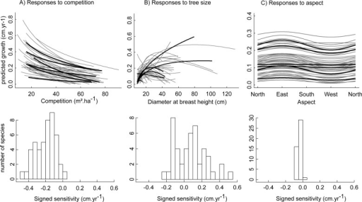 Predicted species growth response shapes and amplitudes to competition, tree size and aspect.Predicted growth at standardized conditions with respect to competition (A), tree size (B) and aspect (C), i.e. with the other covariates fixed at their observed means. The 6 most abundant species are in bold in top panels. Bottom panels represent the distribution of species signed sensitivity to covariates, as defined in section Analysis.
