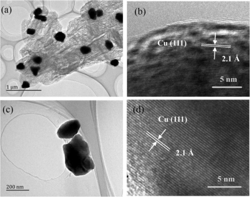 TEM images of copper particles obtained from the decomposition of cupric tartrate at 271°C under Ar. (a, b) 0.5 h and (c, d) 8 h.