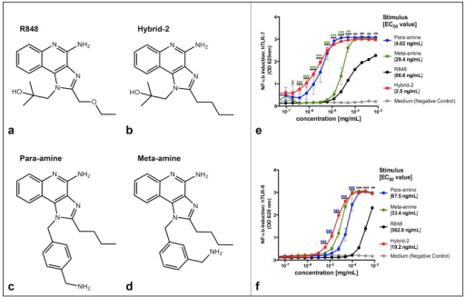 NF-κB induction by TLR7/8 agonists in HEK-TLR cells.Fo