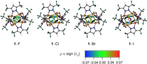 Noncovalent index (NCI) analysis for the halide complexes 1–X (X=F, Cl, Br, I).