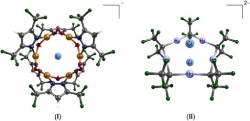 Metallacycle complexes that were the subject of this study: [trans-Cu6(3,5-(CF3)2pz)6(OH)6Cl]− (I) and [(HgC(CF3)2)52Cl]2− (II).
