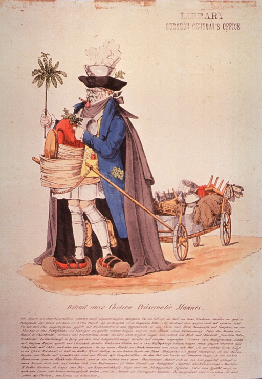 <p>A man is wearing and carrying various protective measures against cholera, from a steaming pot on his head, to a face mask, to large protective devices for his feet.  He is towing a wagon of household articles.</p>