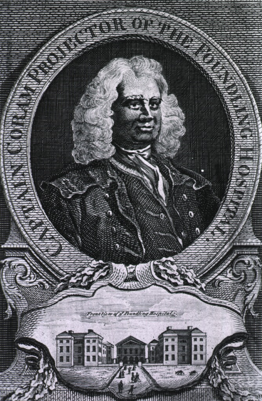 <p>Head and shoulders, right pose, in circle, with inscription in border.  Vignette of Foundling Hospital.</p>