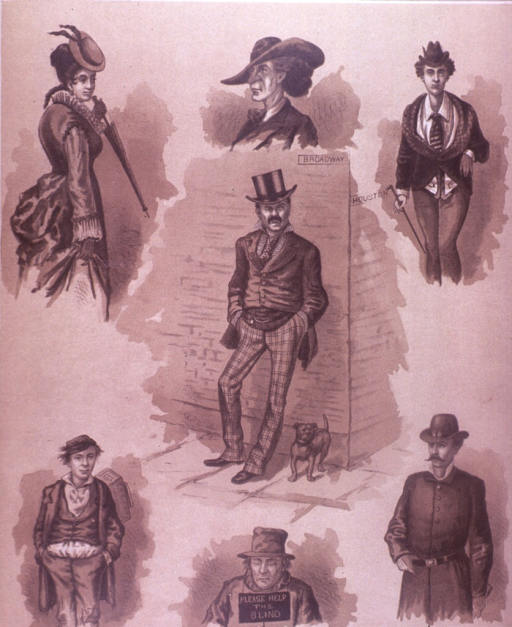 <p>Seven drawings of various individuals located around Broadway and Houston Streets.  On the verso are advertisements for M. Cherry, a manufacturer and dealer of luggage, Silleck &amp; Co. provider of gentlemen's furnishing goods, Phelan's improved billard tables, and Elastic Truss Co.</p>