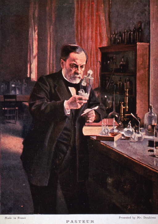 <p>Standing, doing an experiment in laboratory.</p>
