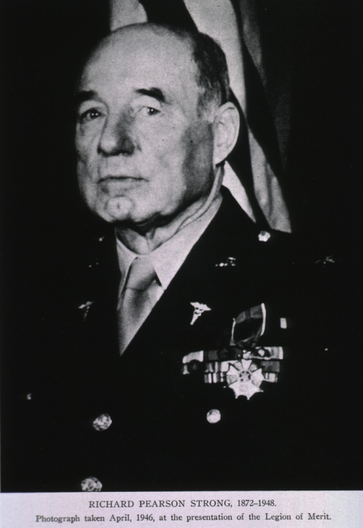 <p>Head and shoulders, full face, uniform with medals.</p>