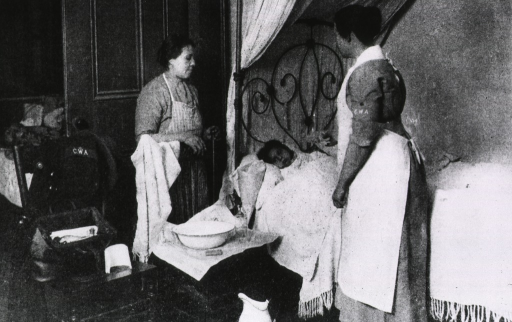 <p>A child with influenza lies in bed, attended by her mother and a visiting nurse (from a local Child Welfare Association?).</p>