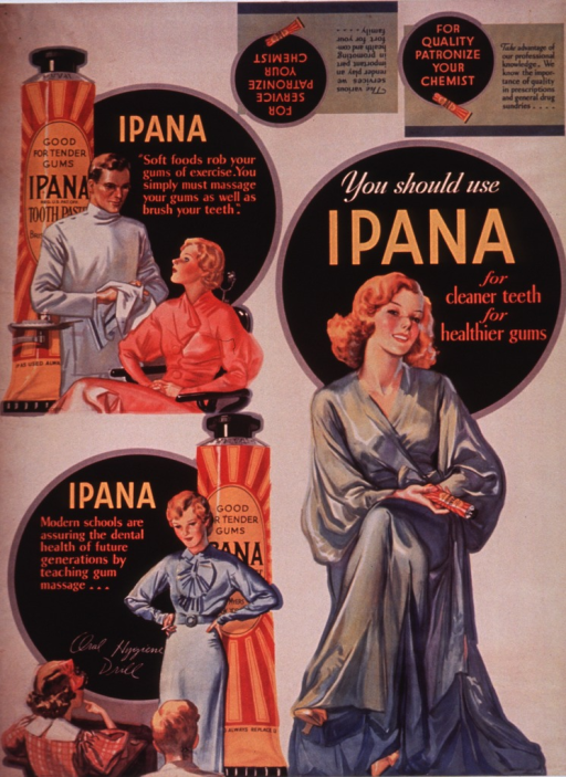 <p>White poster with multicolor lettering.  Poster is a reproduction of an earlier poster, as described in caption.  Title, taken from dominant image on earlier poster, near upper right corner.  Visual images on earlier poster include an oversized tube of Ipana behind a woman sitting in a dental chair with her dentist standing next to her, an oversized tube of Ipana behind a teacher standing in front of children seated at desks, and a woman in a long dressing gown.  Text on earlier poster stresses importance of gum massage.  Caption at very bottom of poster.</p>