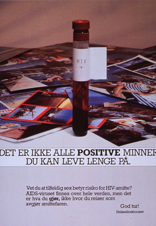 <p>Multicolor poster with black lettering.  Visual image in upper portion of poster.  Image is a reproduction of a color photo in which a test tube of blood labeled &quot;HIV+&quot; stands amid postcards and vacation photos.  Title below photo.  Caption below title mentions that AIDS exists all over the world and appears to discuss the risk of contracting AIDS while traveling.  Note below caption means &quot;good trip.&quot;</p>