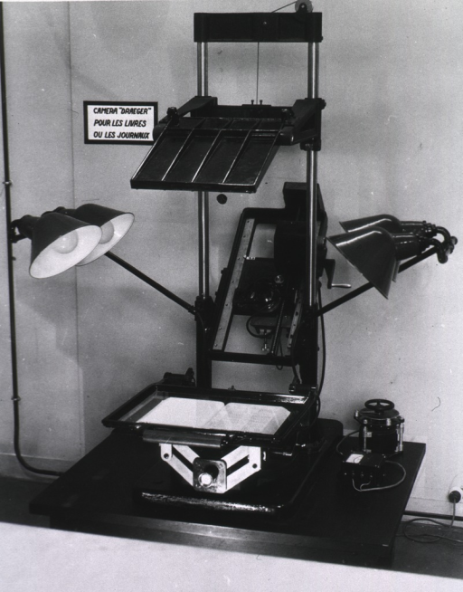 <p>Interior view:  Photoduplication Section.  Draeger camera.</p>