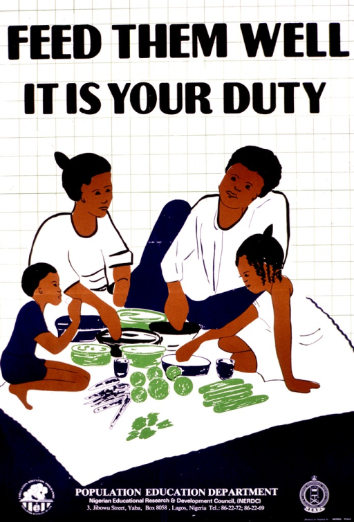 <p>Predominantly blue and white poster with black and white lettering.  Title at top of poster.  Visual image is a color illustration of a four-member family sitting and eating a variety of foods.  Publisher information and logo at bottom of poster.</p>
