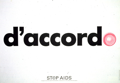 <p>White poster with black lettering and pink highlights.  Title in center of poster.  The final &quot;o&quot; in accordo is represented by an illustration of a fresh, pink condom.  Note and publisher information at bottom of poster.</p>