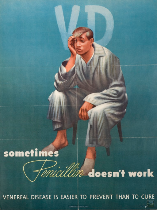 <p>Predominantly blue poster with white and yellow lettering. A man in a bathrobe and slippers sits in a chair leaning his face in his right hand. The man has a frustrated look on his face. Title above image. Remainder of title below image. The word &quot;Penicillin&quot; is yellow and written in script. Picture caption below remainder of title. Publisher information below picture caption. Logo for the Bureau of Naval Personnel in lower right-hand corner of poster.</p>