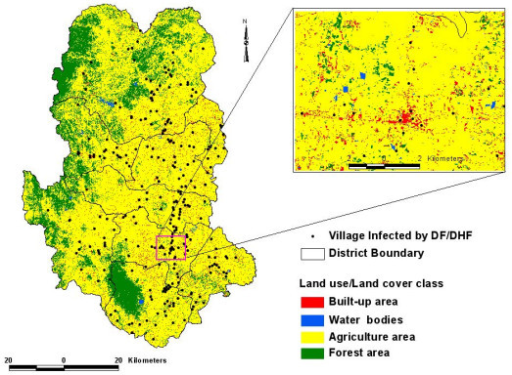 Land Use Land Cover Map Showing Df Dhf Affected Settlement In Sukhothai Thailand