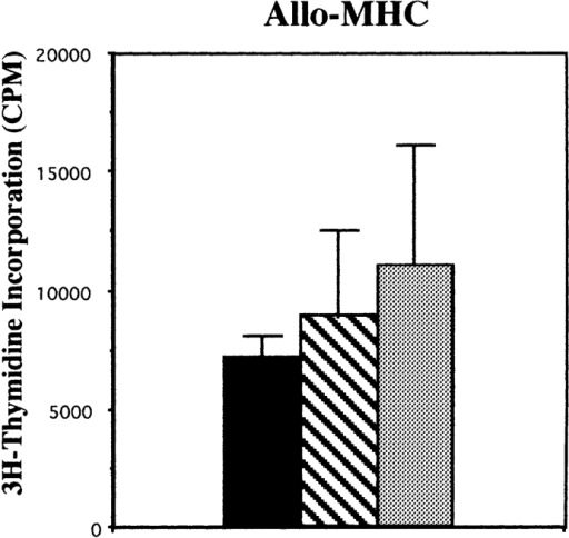 In vitro proliferative responses of Msh2-deficient T cells. Total lymph node cells were stimulated with either 4 μg/ml Con A or irradiated  spleen cells from BALB.K mice (allo-MHC) for 48 h, as described in Materials and Methods, and pulsed with [3H]thymidine to measure proliferation.  Plate-bound anti-CD3 stimulation was also performed in this fashion (see Materials and Methods), but using splenic T cells enriched as described. The  cells used for each experiment were derived from at least two mice of each genotype.