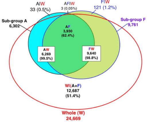 Venn diagram showing the intersection between the sub-groups A and F and the whole experiment (W). Sub-group A is the first four blocks and F is the last four blocks of the whole experiment, which includes a total of 24 blocks. GC-RMA preprocessed data of A, F, and W were analyzed separately using the same LMMA model in SAS Proc Mixed. Genes with significant genotype × treatment interaction were determined using a cutoff of a TST-FDR adjusted p ≤ 0.01, as described in the methods. AW indicates the intersection between the A and W, FW the intersection between F and W, and AF the intersection of the two sub-groups A and F. W/(A+F) refers to genes in W but not in A or F, A/W to genes in A but not W, and F/W to genes in F but not W. AF/W refers to genes in A and F but not W; the three genes in this set were not found significant in the other four sub-groups (B, C, D, or E).