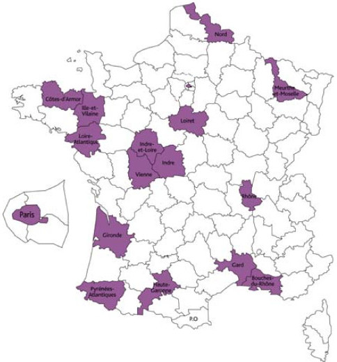 Geographical location of the participating HSCs in France