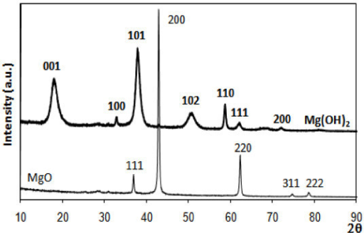 X-ray diffraction spectra of commercial MgO, pure (thin line) and loaded with 1% Au wt (thicker line) by DIM, with phases and respective crystal planes (Miller indexes) identified.