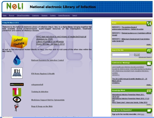 The National electronic Library of Infection (NeLI; information can be found by using drop down menus, left, or the search box, right).