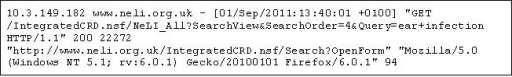 A sample log entry for a Web access to NeLI.
