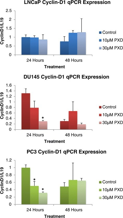 cyclin-d1mRNA expression analysis of prostate cancer cells over 24 and 48 hours post phenoxodiol treatment.