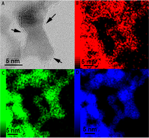 HR-TEM image (A) and element mapping spectra C (B), N (C) and V (D) of VN/C. The arrows indicate the surface carbon layers on VN Nanoparticles.