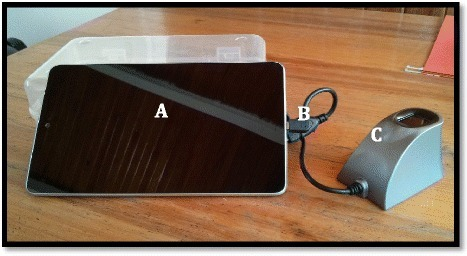 Electronic fingerprint-linked data collection system. a. Android touchscreen tablet for data input. b. USB adaptor cable. c. Single-finger imaging sensor for fingerprint collection
