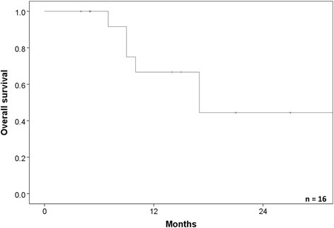 The overall survival rate of the patients who were treated lung cancer or lung metastasis with interstitial pneumonitis. The 1- and 2-year overall survival rates were 69.6 and 44.4 %, respectively