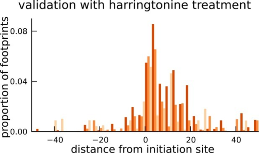 Validation of translated sequences identified in pseudogenes.Enrichment of harringtonine-arrested ribosome occupancy at the inferred translation initiation sites validates our inferred mCDS in pseudogenes.DOI:http://dx.doi.org/10.7554/eLife.13328.018