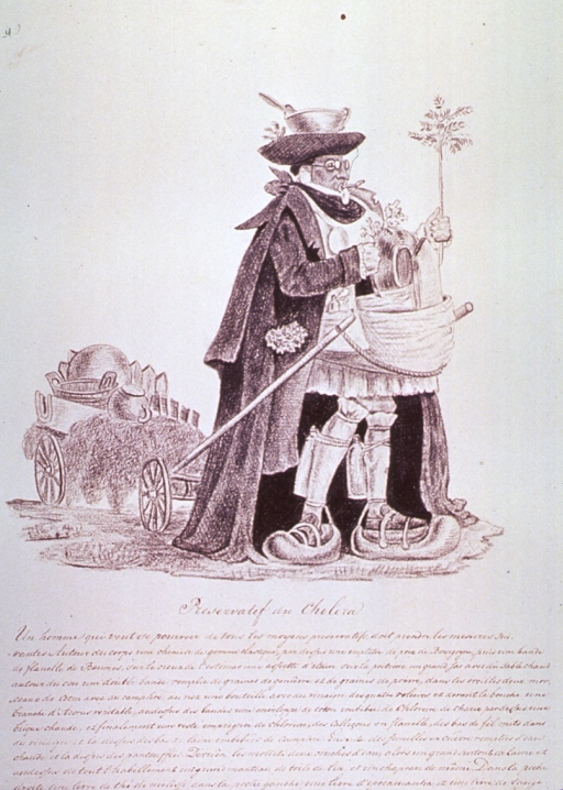 <p>A man is wearing and carrying various protective measures against cholera.  He has a face mask, large protective devices for his feet, a pot on his head, and is holding plants in each hand.  He is towing a wagon of household items.</p>