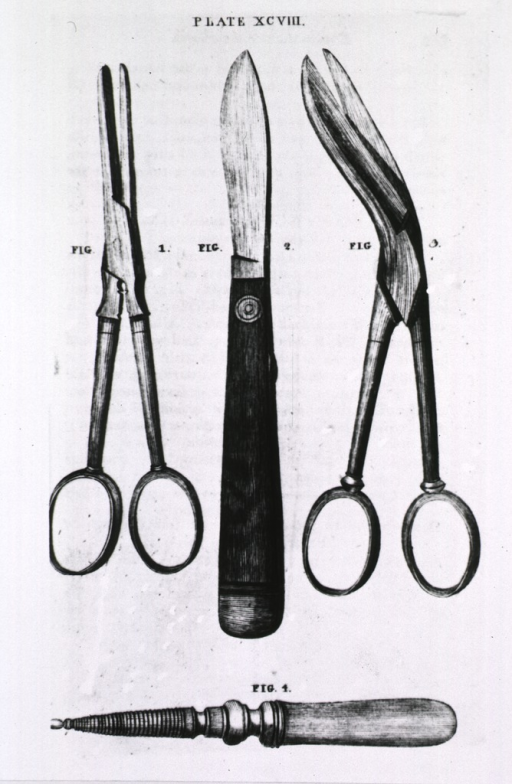 <p>Instruments for a surgeon's pocket case - incl. forceps, scapel, scissors, &amp; case for caustic and red precipitate.</p>