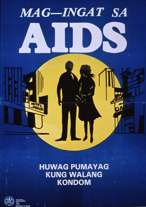 <p>Teal poster with white lettering.  Initial title words at top of poster, urging reader to be careful of AIDS.  Visual image is an illustration of a man and a woman walking down a street lined with motels.  The couple is highlighted in a bright yellow circle, as if in a spotlight.  Remaining title words below illustration.  Health Dept. logo in lower left corner of poster.</p>