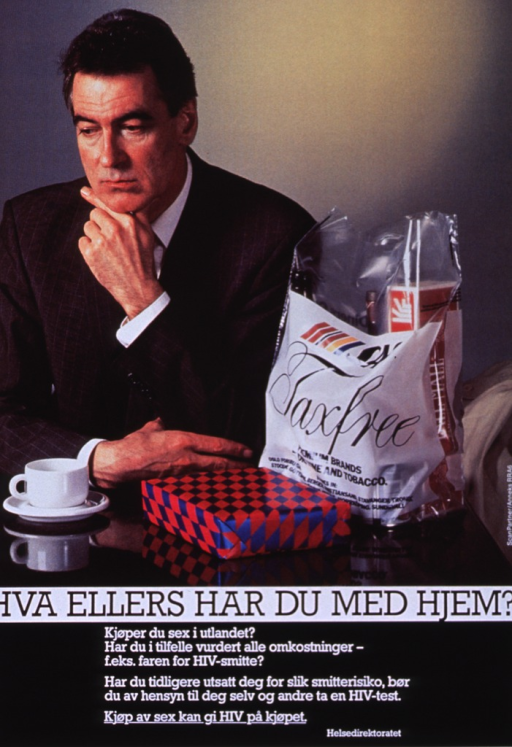 <p>Multicolor poster with black and white lettering.  Visual image in upper portion of poster.  Image is a reproduction of a color photo of a man in a suit, sitting and having a cup of coffee.  A gift and a bag from the duty-free shop sit on the table next to him.  Title below photo.  Caption below title asks if the reader bought sex while abroad, discusses the risk of HIV transmission, urges testing, and states that buying sex can give HIV to the buyer.</p>