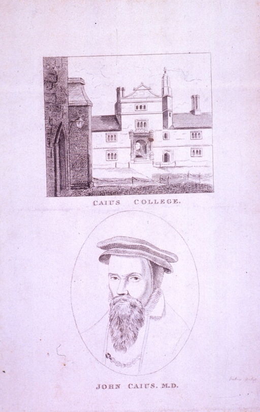 <p>Head and shoulders, full face, left pose, in oval under etching of Caius College.</p>