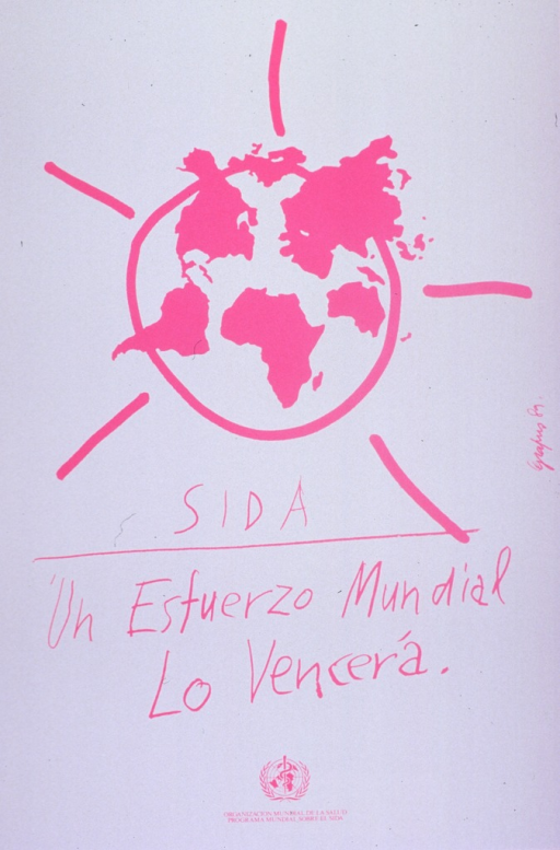 <p>Predominantly white poster with pink lettering.  Visual image is an illustration of the Earth with lines coming out of it, like the rays of the sun.  Title below illustration in a font suggestive of a child's writing.  Publisher information at bottom of poster.</p>