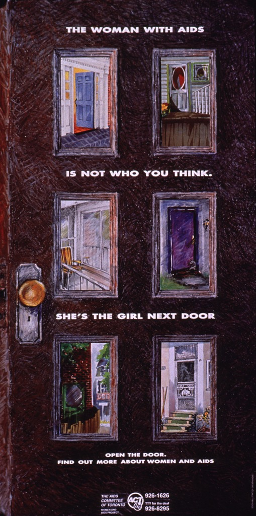 <p>The poster is designed to look like a door with six panels. Each panel shows a different type of dwelling to represent the home of the person next door. A phone number is listed at the bottom of the poster for more information.</p>