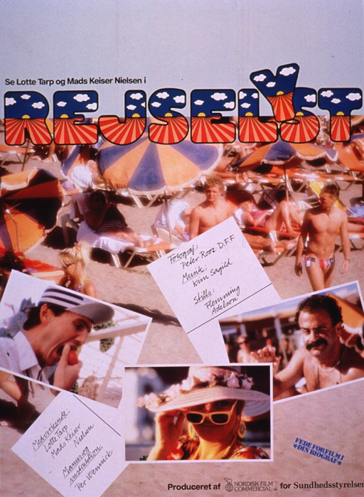 <p>Multicolor poster advertising a film.  Stars of the film and title near top of poster.  Visual images are color photo reproductions.  The background shows a crowded beach.  In the foreground, there are some film credits and three photos showing two men and a woman.  Note near lower right corner.  Publisher information at bottom of poster.</p>