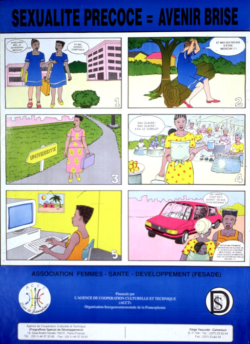 <p>Predominantly blue poster with black lettering.  Title at top of poster.  Visual image is a six-panel illustration that contrasts the lives of two young women who begin as schoolmates.  One of the young women becomes pregnant.  While her friend goes to college, she begins to hawk ice cream in a market, carrying her baby on her back as she works.  Her friend gets a good job and then returns to visit.  The friend asks the young woman what happened and the young woman explains that she dropped out of school during her pregnancy.  The young woman remarks on her friend's beautiful car.  Publisher and sponsor information below illustration.</p>