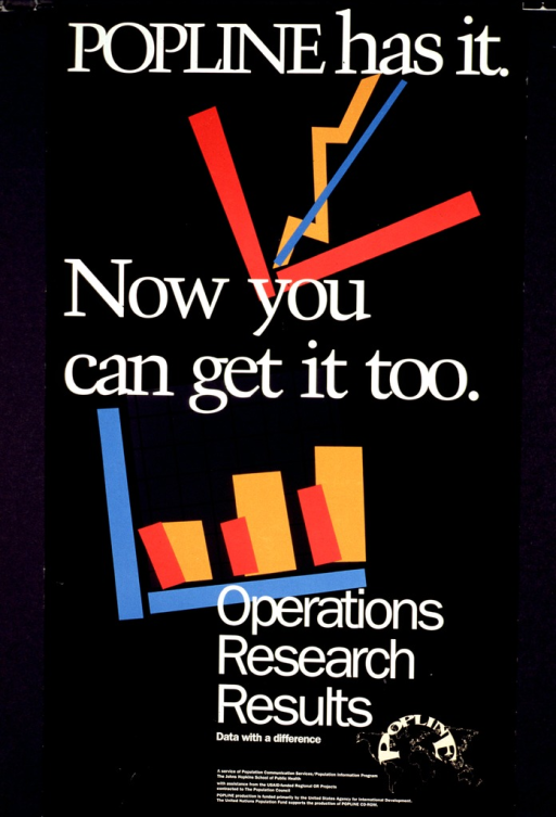 <p>Predominantly black poster with white lettering.  Title in upper portion of poster.  Visual images are abstract, multicolor graphs.  A line graph showing an upward trend is near the top; a bar graph is below.  Note and publisher information in lower portion of poster.</p>