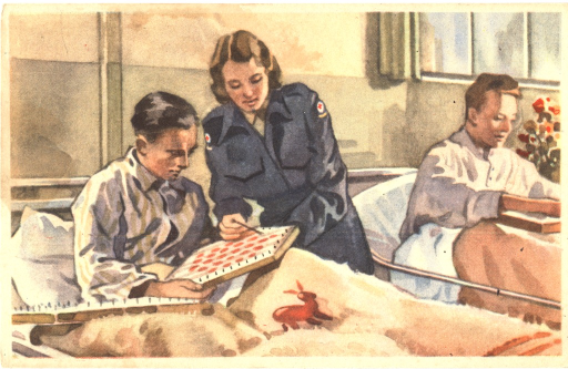 <p>Postcard featuring a color illustration of female nurse in blue with red crosses on her sleeves standing next to a man in striped pajamas who is sitting on a bed. She is pointing something out to him on a board he is holding which has pegs and red dots on it. A similar board is also sitting on his lap. There is a rabbit on his blanket. To the right is another man sitting on a bed with a board on his lap. Above this man's head is a window and next to him is a vase of flowers.</p>