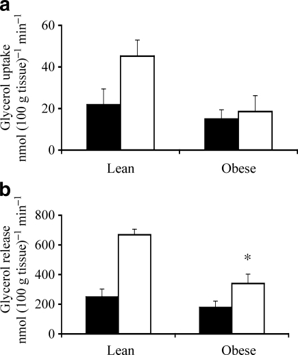 Total glycerol uptake (a) and release (b) across abdominal SAT after an overnight fast (black bars) and during beta-adrenergic stimulation (white bars) in obese vs lean participants during 3 h [2H5]glycerol infusion. Values are mean ± SEM. *p < 0.05 for change (Δ) from baseline obese vs lean