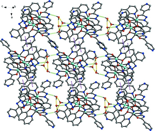 The two-dimensional supramolecular sheet of the title ZnII complex, formed by hydrogen bonds and π-π interactions (dashed lines) between two symmetry-related quinoline rings [centroid-to-centroid distance 3.660 (2) Å [symmetry code: -x+2, -y+1, -z+2].