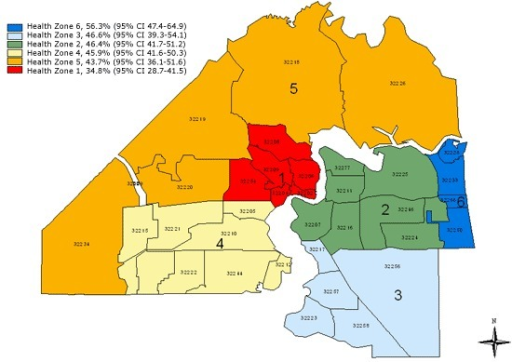 Map of health zones in Duval County, Florida, showing p | Open i
