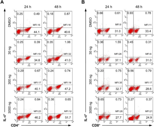 Representative dot plots show synthesis of IL-4 by CD4+ (A) and CD8+ (B) T cells isolated form bitches in luteal phase and treated for 24 and 48 h with DMSO (control) or 30, 300 and 3000 ng/ml of aglepristone. Numbers within quadrants represent the percentage of positive cells for a given marker within the gate for lymphocytes. MFI of IL-4 in T cell subsets is shown within upper right quadrants.